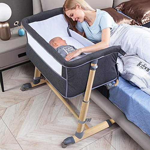 Baby Bedside Crib, RONBEI Baby Bassinet Bed for Newborn/Infant, Portable Baby Nursery Sleeper -9 Adjustable Positions Bed to Bed Baby Bed for Bed/Sofa- Grey (Wood Printing)
