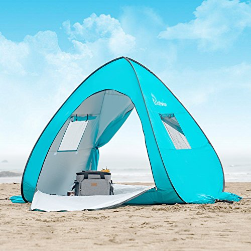 WolfWise UPF 50+ Easy Pop Up Beach Tent Sun Shelter Portable Baby Canopy Quick Instant Automatic Sport Umbrella Sun Shade (Best Pop Up Shade)