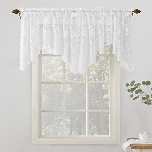 (No. 918 Alison Floral Lace Sheer Rod Pocket Valance Curtain Panel, 58