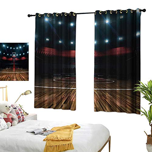 RuppertTextile Teen Room Decor Simple Curtain Professional Basketball Arena Stadium Before Game Championship Sports Image 63