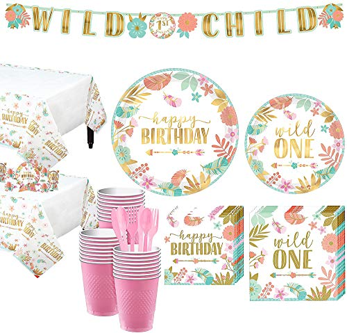 Party City Boho Girl 1st Birthday Party Kit for 32 Guests, Includes 2 Table Covers, Table Centerpieces and Banner Kits ()