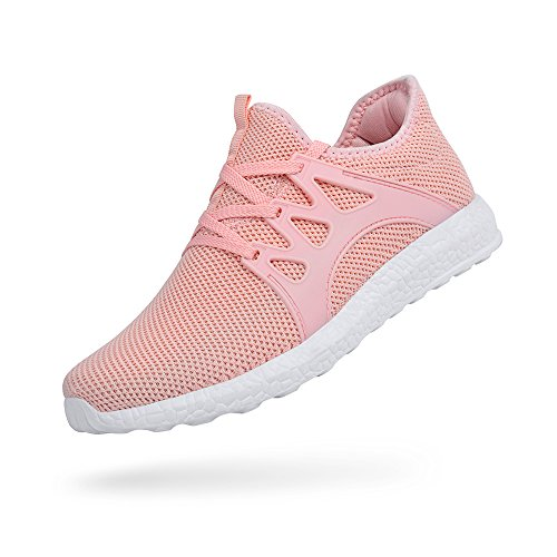Troadlop Womens Sports Running Shoes Air Knitted Lightweight Fashion Sneakers, Pink-9 US -