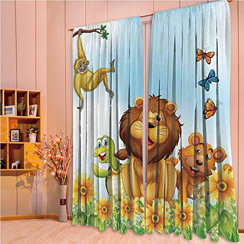 ZHICASSIESOPHIER Finel Kids Curtains for Living Room Bedroom Window Curtains Baby Room Lovely Children Curtains Drapes,Flowers Nature Butterfly Lion King Artsy Graphic 84Wx63L Inch (Lions Drapes)