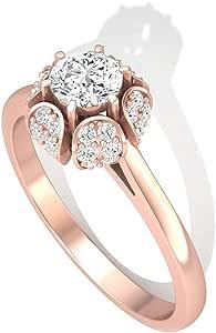 0.49CT Round IGI Certified Diamond Halo Engagement Ring, Antique IJ-SI Diamond Cluster Flower Wedding Bridal Ring, Gold Engraved Promise Ring Set Gift