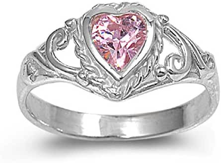 Simulated Tourmaline Cubic Zirconia Filigree Heart Petite Ring 925 Sterling Silver