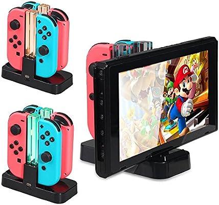 Leegoal (TM) 4 en 1 cargador para mandos Joy-con Nintendo Switch ...