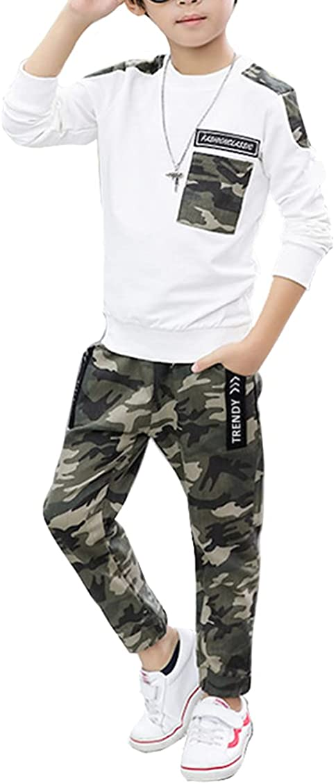 Boys 2 Pieces Set Long Sleeve Tops + Camouflage Pants...