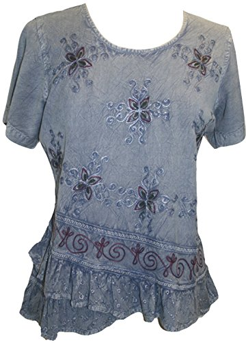 Agan Traders 118 B Medieval Cross Blouse (Large, Lilac C) -