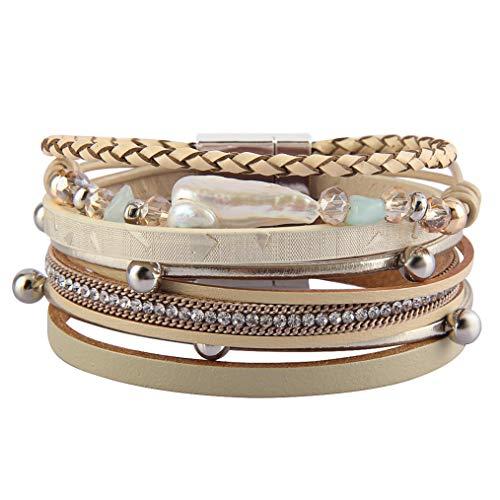 Bfiyi Leather Cuff Bracelets Boho Multilayer Braided Wrap Bangle Handmade Wristbands Feather Bracelet for Women,Girls,Wife,Mom,Kids Gift