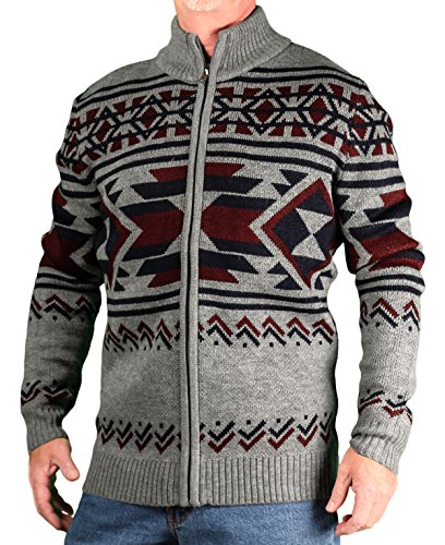 Blacksmith Men's Jaquard Mock-Neck Zip Sweater, Grey, Size XX-Large