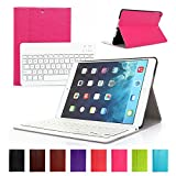 iPad Air 1/iPad 5 Keyboard Case, Symbollife iPad Air / Ipad 5 Ultra Slim Folding Pu Leather Folio Smart Case Stand Cover + Removable Detachable Wireless Bluetooth Keyboard 2013 Version Rose Pink