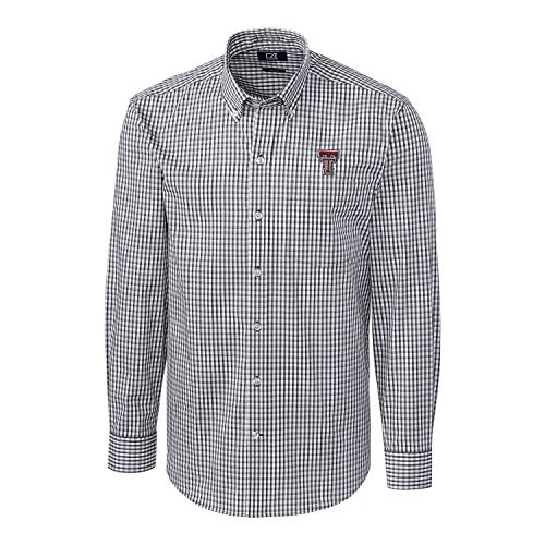 Tech Down Dry Button Shirt (Cutter & Buck NCAA Texas Tech Red Raiders Mens Long Sleeve Button Down Stretch Gingham Shirt, Charcoal, Large)