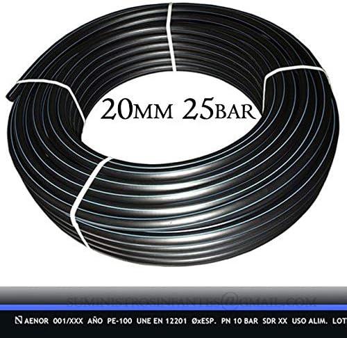 Color negro M/áxima calidad Presi/ón m/áxima 25 BAR TUBERIA 20MM de Polietileno ALIMENTARIA alta densidad Bobina de 100 METROS Tuberia con Certificado AENOR apta uso agua potable.