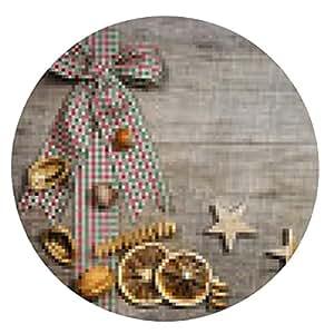 alfombrilla de ratón Rústico fondo de madera navideño: curso de Decoración - ronda - 20cm