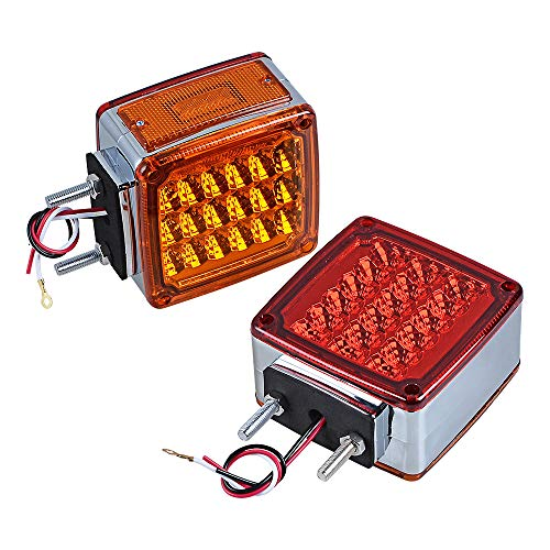 (2X Truck Trailer Fender Pedestal Signal Light Square Dual Face Amber Red LED Turn Marker for Tractor Semi-Trailer Dump Lorry Van )