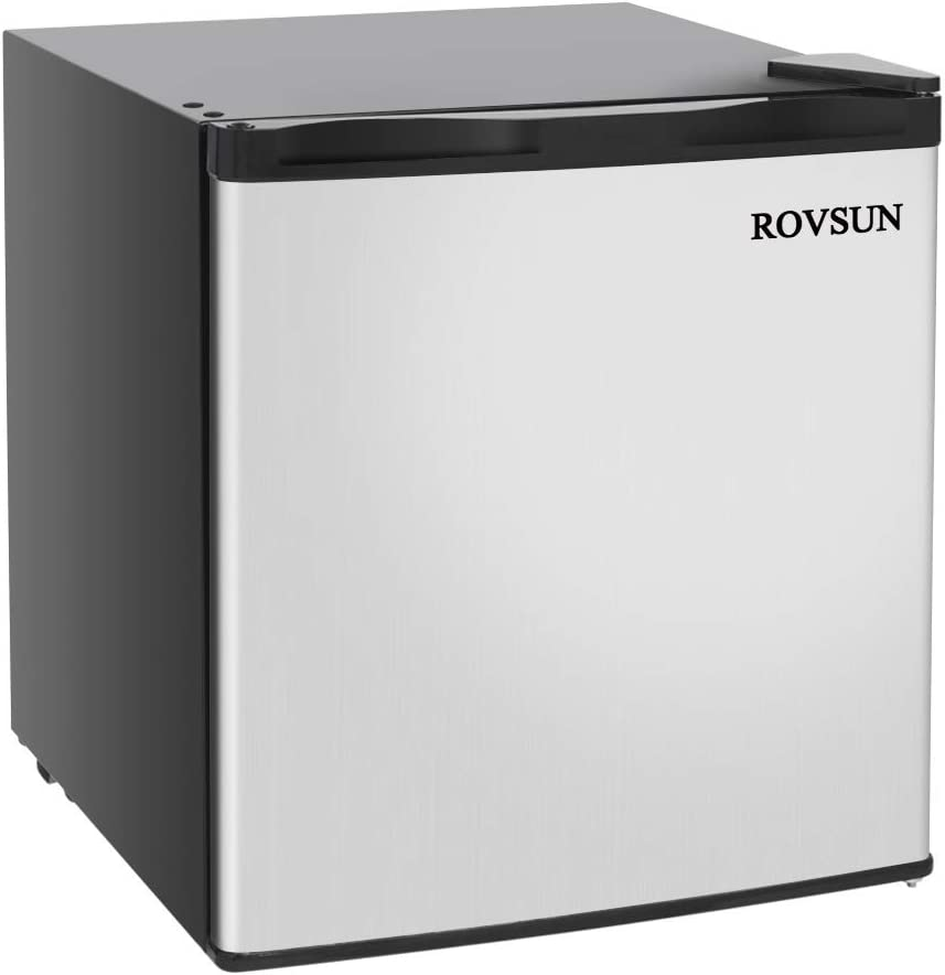 ROVSUN 1.1 CU.FT Upright Freezer with Reversible Stainless Steel Single Door, Removable Shelves (1.1 cu.ft.)