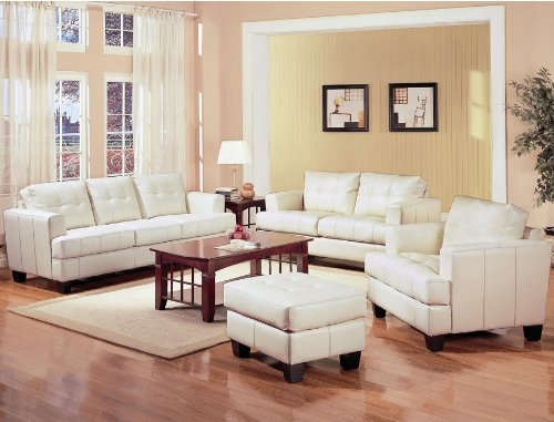 Samuel Bonded Leather Collection Set in White Cream