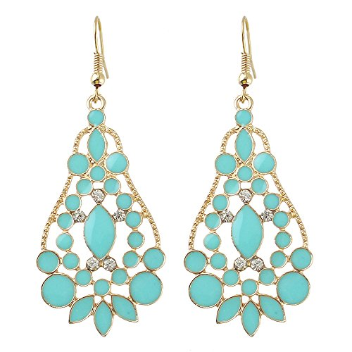 Feelontop Bijoux Chandelier Style Water Drop Imitation Gemstone Earrings for Women with Jewelry Pouch (Blue)