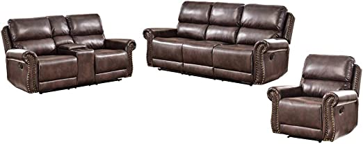 Reclining Sofa Set Of 3 Pleated Lines With Bronze Rivets Adjus Comfortable Angle At Will Steel Frame  Material Breathing Leather Swing Freely Romatpretty Leather Sofa Set Living Room Multi-Functiona