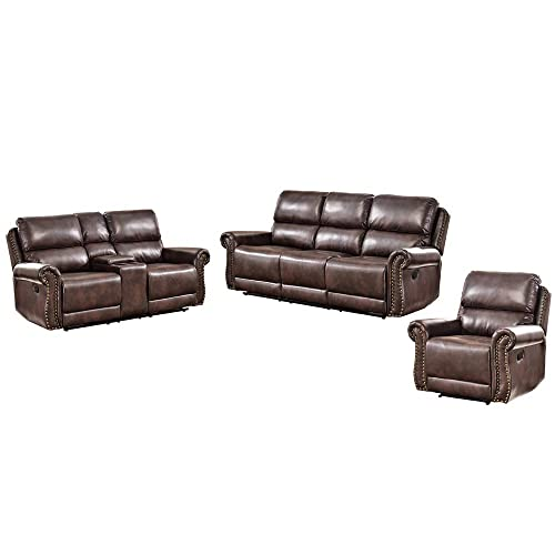 Romatpretty Leather Sofa Reclining Couch Set of 3 Home Furniture Pleated Lines with Bronze Rivets Adjus Comfortable Angle Steel Frame Material Breathing Leather Swing Freely Living Room