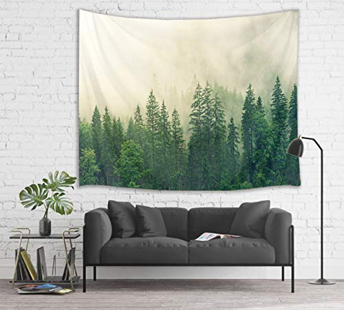 (HVEST Forest Tapestry Green Trees with Fog in Mountain Wall Hanging Nature Tapestries for Bedroom Living Room Dorm Party Wall Decor,80Wx60H inches)
