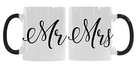 Amazon com: 11 Oz Couples Morphing Mugs Set - Mrs & Mr