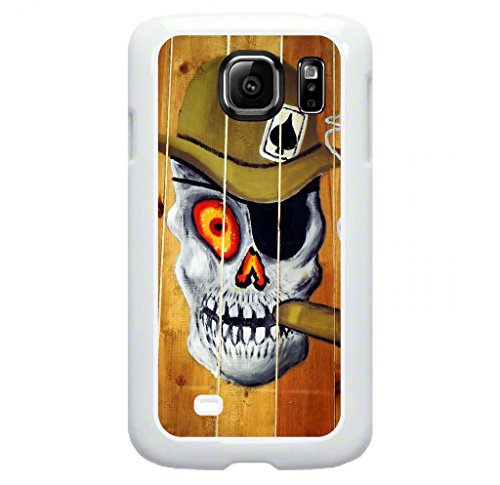 (Skeleton Smoking Cigar Art Painting- Protective White Plastic Case for the Samsung Galaxy s6 EDGE Phone (Not compatible with the Standard Galaxy s6))