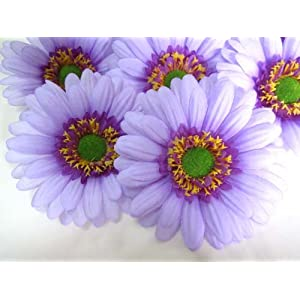 "(12) BIG Silk Purple Gerbera Daisy Flower Heads , Gerber Daisies - 3.5"" - Artificial Flowers Heads Fabric Floral Supplies Wholesale Lot for Wedding Flowers Accessories Make Bridal Hair Clips Headbands Dress 108"