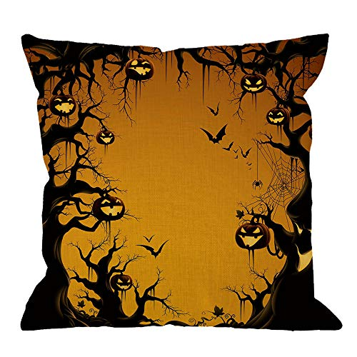 HGOD DESIGNS Halloween Throw Pillow Cushion Cover,Night Pumpkin and Tree Cotton Linen Throw Pillow Case Personalized Cover New Home Office Decorative Square 18 X 18 Inches,Orange,Black ()