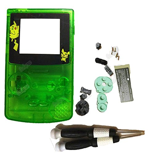 (Full Housing 8 Color Plastic Pokemon Jiggly Puff Screen Lens Shell Case Fit Gameboy Color GBC Repair Game Console w/ Screws Sticker (clear green P1) )
