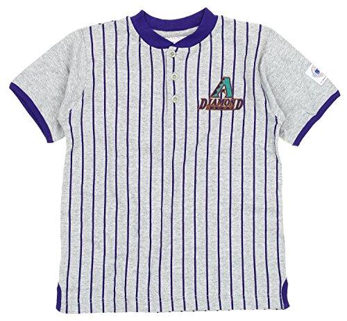 Mighty Mac Arizona Diamondbacks MLB Big Boys Youth Retro Striped Henley Shirt, ()