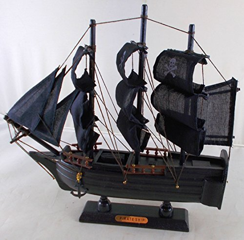 Pirate Ship Wooden Boat Model with Cloth Sails - Fully Assembled (Models Ship Pirate)