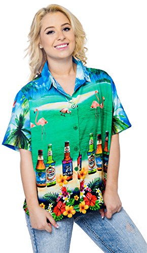 hawaiische Bademoden Hemdkleid mit kurzen �rmeln Bluse Knopf unten drt049 b_blue m Damen