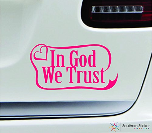 In God We Trust Ribbon 7x3.6 Pink church jesus symbol love humor america united states color sticker state decal vinyl - Made and Shipped in USA