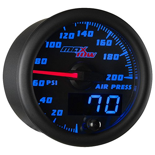 MaxTow Double Vision 200 PSI Air Pressure Gauge Kit - Includes Electronic Sensor - Black Gauge Face - Blue LED Dial - Analog & Digital Readouts - for Air Ride Suspension Systems - 2-1/16