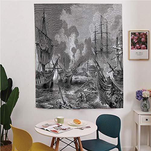 War Home Decor Blackout Window Curtain,Free Punching Magic Stickers Curtain,Battle of Navarino Naval Armada Sinking Sailing Vessels War Portrait,for Living Room,Study, Kitchen, Dormitory, Hotel,Black