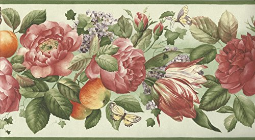 Wallpaper Border Fruits & Florals on Green with Butterflies with Green (Green Trim Wallpaper Border)