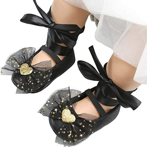 vanberfia Baby Moccasins Soft Sole Bow Girls Ballet Dress Shoes for Toddler