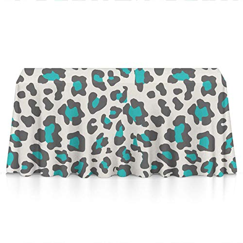 Rectangle Tablecloth - 60x120 Inch - Cheetah Print Blue Rectangular Table Cloth in Washable Polyester - Great for Buffet Table, Parties, Holiday Dinner, Wedding & More ()