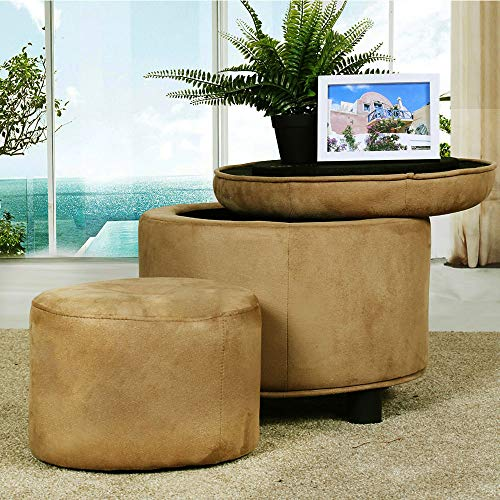 (Louis Donné Ottoman with Storage Set of 2 Round Velvet Tufted Children's Foot Stool Small and Large(Oat, Much Deeper Brown))