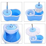 Holms 360° Spin Floor Cleaning Easy Magic Plastic Bucket Mop with 2 Microfiber Heads(Color May Vary)