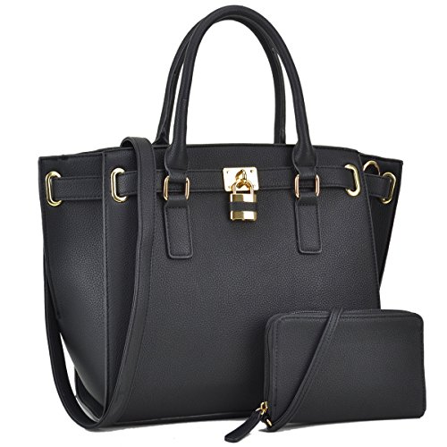 Women Large Vegan Leather Tote Bags Structured Work Bags Shoulder Purses Handbags for Women with (Belted Laptop Tote)