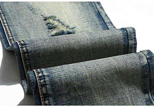 Ghope Hommes jeans Trous européens en jeans usure Slim droites hommes usés marée pantalon