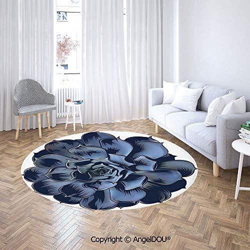 AngelDOU Round Carpets and RugsBedroom Living Room Echeveria Succulent Blossom Illustration Realistic Design Lithops Crassula Petals Decorative Sofa Chair Decor Anti-Slip Floor Mats.