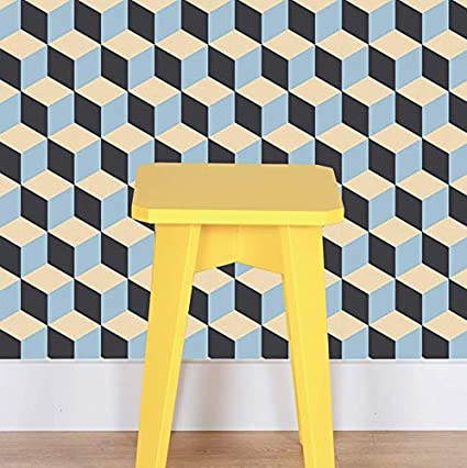 Peel And Stick Wallpaper Retro Tile Removable Peel And Stick Vinyl Wall Paper Each Roll Is 18 Ft Long X 18 In Wide By Flipside