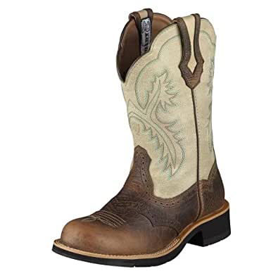 Ariat Women's Show Distressed Cowgirl Boot Round Toe Earth 6 M US
