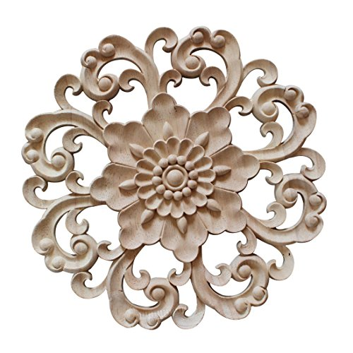 Jiyaru 1pc Wood Carved Flower Decal Unpainted Onlay Applique Furniture Decor 15cm #4
