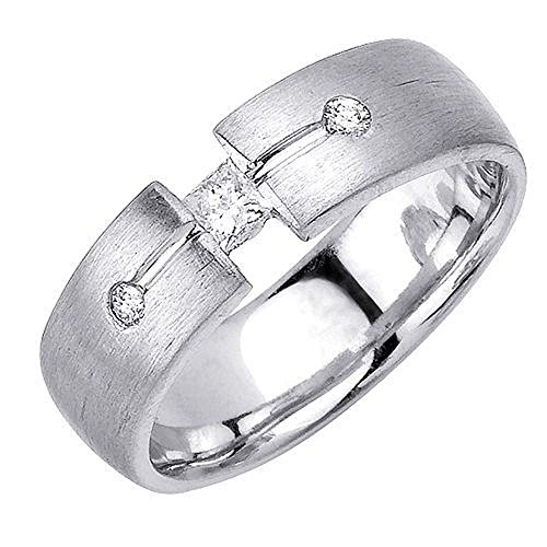 18K Gold Round Brilliant & Princess Cut 7mm Comfort Diamond Band 0.27ctw 1210 - Size - Round Ring Diamond Brilliant Tension