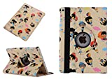 9.7 Inch Case 2017 New iPad, TechCode Cute Lovely Cartoon Pattern 360 Degree Rotating PU Leather Flip Folio Stand Case Cover for 9.7 Inch 2017 New iPad (Yellow)