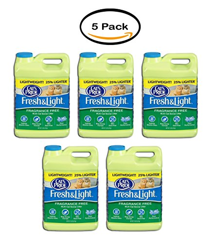 PACK OF 5 - Cat's Pride Fresh and Light Premium Clumping Fragrance Free Scoopable Cat Litter Jug, (Premium Scoopable Litter)